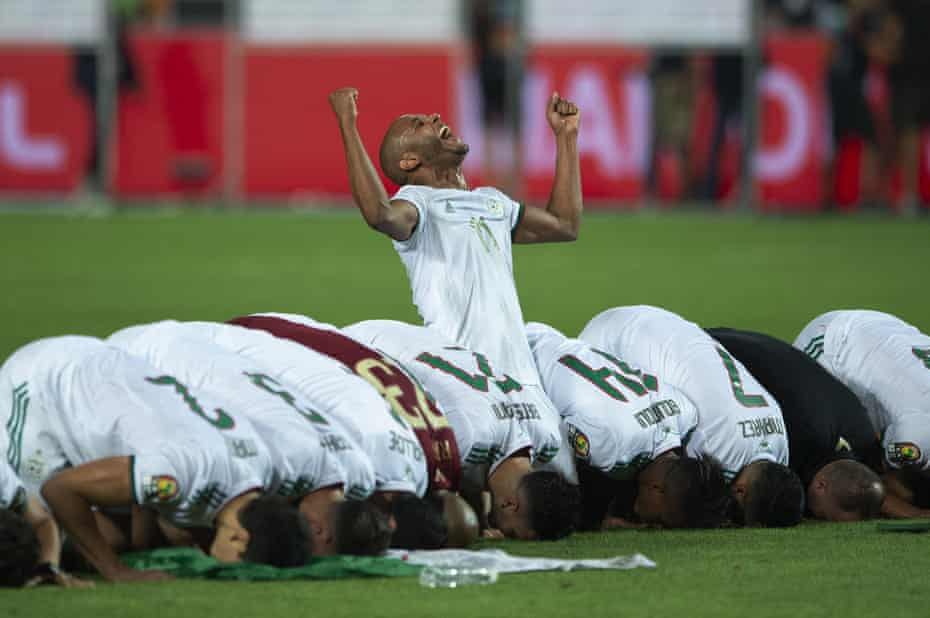 Yacine Brahimi of Algeria celebrates winning.