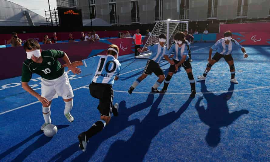 Visually impaired soccer players compete during the London Paralympics.