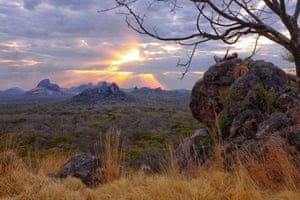 A view looking west towards the Mbatamila Inselberg range located near the Niassa reserve headquarters in Mozambique