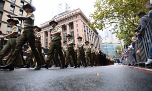 Soldiers march during the Anzac Day march in Sydney in 2018