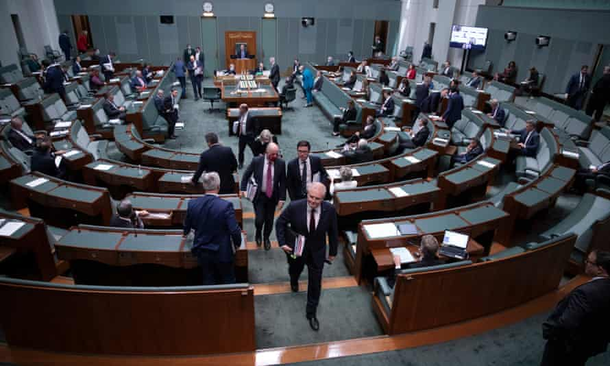 Scott Morrison leaves the chamber after question time in the House of Representatives
