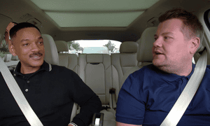 Will Smith and James Corden in Carpool Karaoke: The Series.