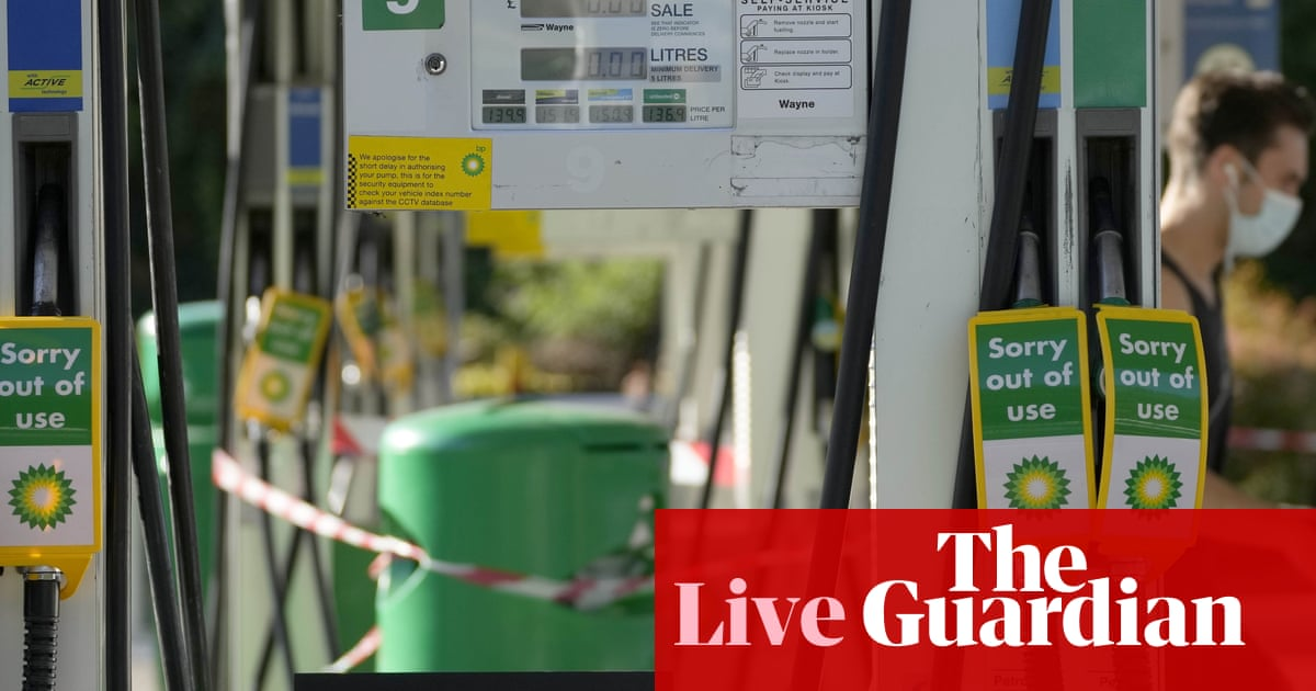 Fuel crisis: UK business secretary says government reserve tanker fleet to hit the road today – live