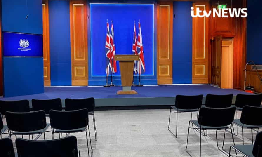 Downing Street's new White-House style media briefing room, following criticism that more than £2.6 million had been spent on the renovations. Issue date: Monday March 15, 2021
