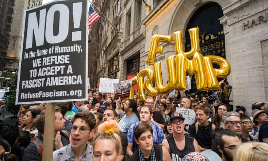 Anti-Trump protesters in New York.