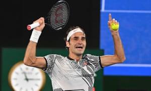 Roger Federer celebrates his victory against Rafael Nadal.