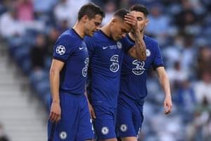 Thiago Silva of Chelsea looks dejected as he walks off injured late in the half.