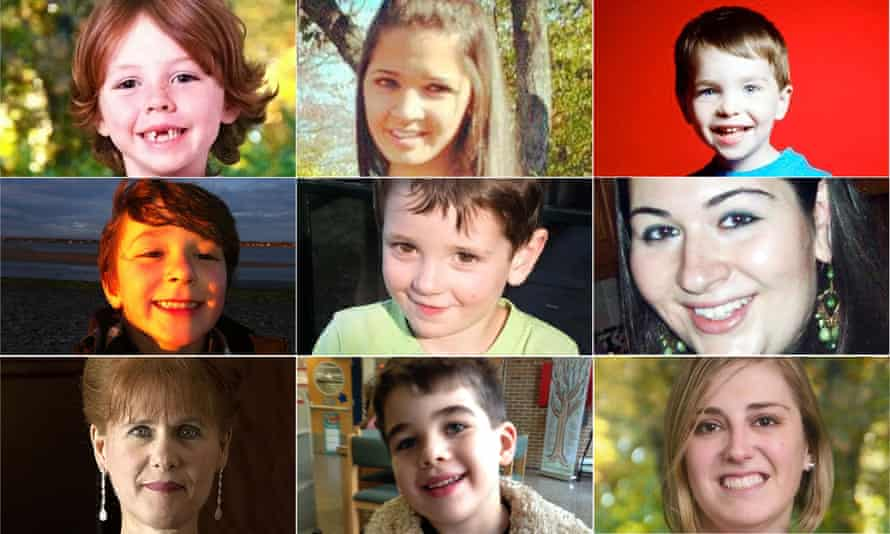 Victims of the shooting whose families are filing the lawsuit include (clockwise from top left): Daniel Barden, Victoria Soto, Dylan Hockley, Rachel Marie D'Avino, Benjamin Wheeler, Jesse McCord Lewis, Mary Joy Sherlach, Noah Pozner and Lauren Rousseau.
