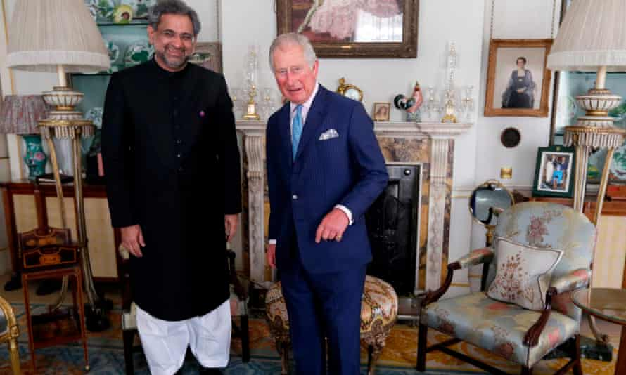Pakistan's prime minister, Shahid Khaqan Abbasi, with Prince Charles at Clarence House, London, on 19 April.