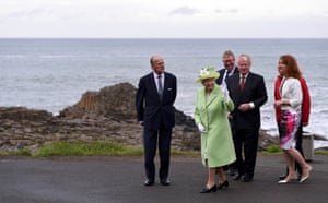 Giant's Causeway, Northern Ireland. Queen Elizabeth II and Prince Philip arrive at the popular tourist attraction