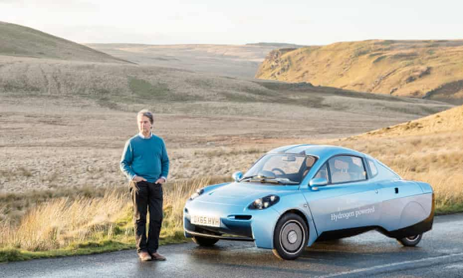 Hugo Spowers and his hydrogen-powered car in the Elan Valley, Wales