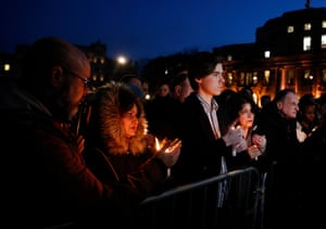 Thousands Gather For Vigil To Remember Westminster Terror Attack Victims(170323) -- LONDON, Mar. 23, 2017 (Xinhua) -- Members of the public light candles during a candlelit vigil at Trafalgar Square for the victims of the Westminster terrorist attack in London, Britain on Mar. 23, 2017. PHOTOGRAPH BY Xinhua / Barcroft Images London-T:+44 207 033 1031 E:hello@barcroftmedia.com - New York-T:+1 212 796 2458 E:hello@barcroftusa.com - New Delhi-T:+91 11 4053 2429 E:hello@barcroftindia.com www.barcroftimages.com