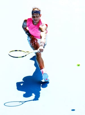 Rafael Nadal in action during his first round match against Hugo Dellien