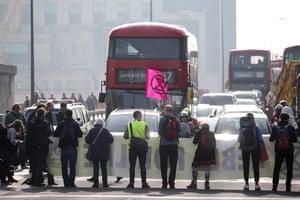 Climate change activists blocking traffic on Vauxhall Bridge