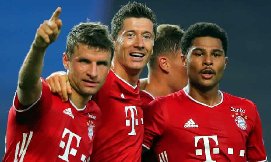 Serge Gnabry (right) celebrates with Thomas Müller (left) and Robert Lewandowski (centre) after scoring his second goal