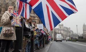 Demonstrators in favour of Brexit gather at Old Palace Yard near the Houses of Parliament.