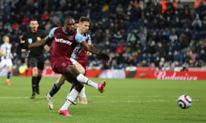 Michail Antonio scores the third for the Irons.