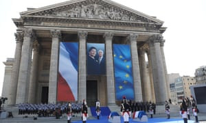President Emmanuel Macron delivers a speech during the burial ceremony of the late French politician and Holocaust survivor Simone Veil and her husband, Antoine, at the Panthéon in Paris