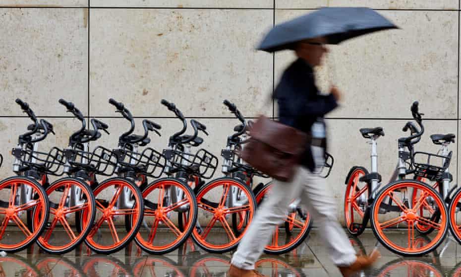 The first 1,000 bicycles in Manchester's Exchange Square as Chinese firm Mobike launches its cycle-sharing scheme in the city.
