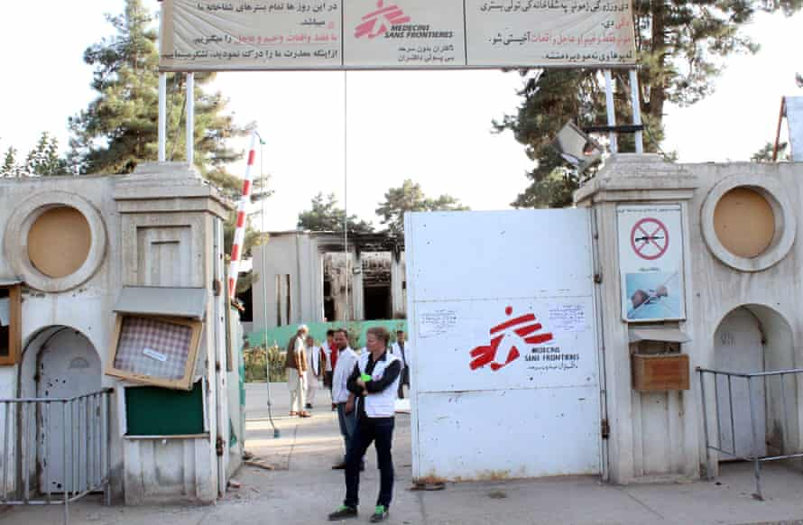Christopher Stokes, the general director of MSF, stands at the gate of the organisation's hospital, after it was hit by a U.S. airstrike, in Kunduz, Afghanistan