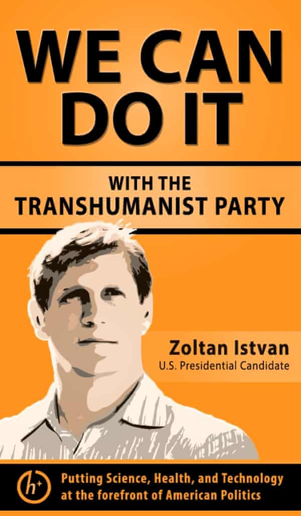 A poster for the Transhumanist party campaign.