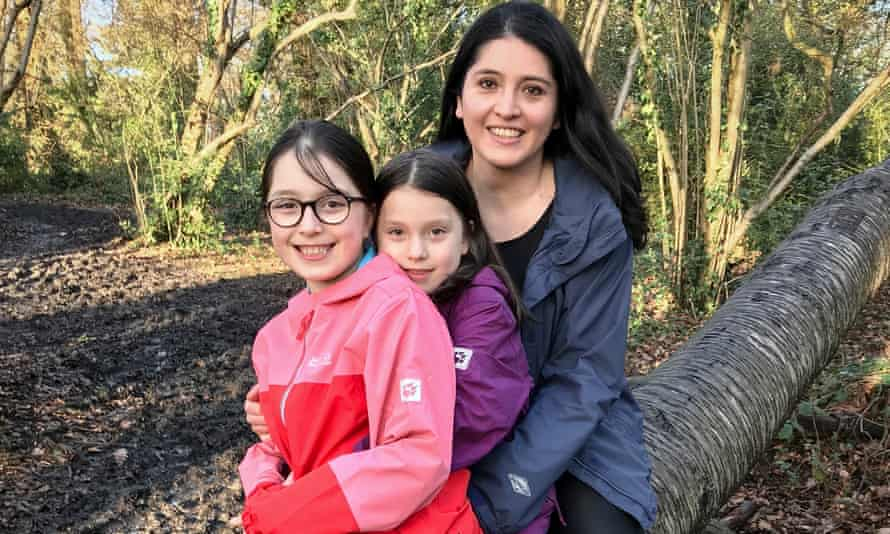 Marcela Hernández and daughters Matilda (centre) and Emma.