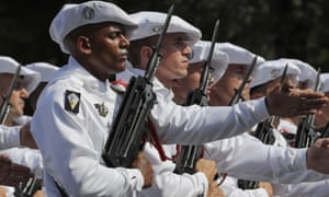 Soldiers of the 27th battalion de Chasseurs alpins march during the Bastille Day parade on the Champs-Elysees.