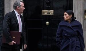 Liam Fox and Priti Patel outside 10 Downing Street.