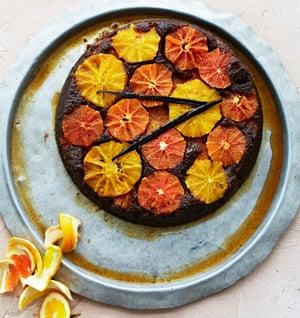 A treacley orange, ginger and rye upside-down cake.