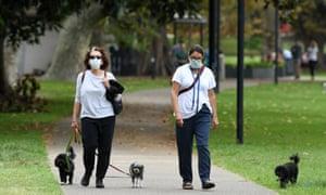 two women walks dogs in a park