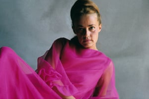Jeanne Moreau wearing a chiffon gown in a 1965 shoot for Vogue magazine