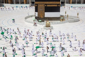 The pilgrims started the major Islamic pilgrimage after finishing four days of hotel isolation in Mecca and prior to that a week-long quarantine at home.