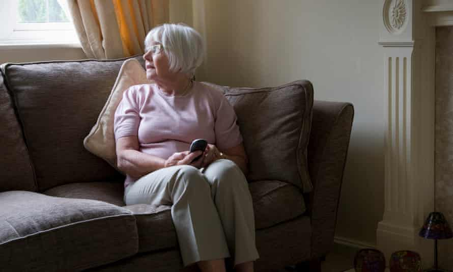 An elderly woman at home