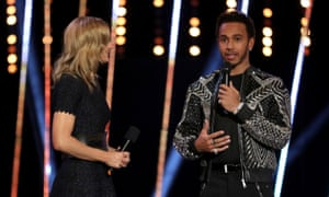 Lewis Hamilton is interviewed by Gabby Logan