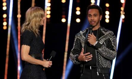 Lewis Hamilton is interviewed by Gabby Logan