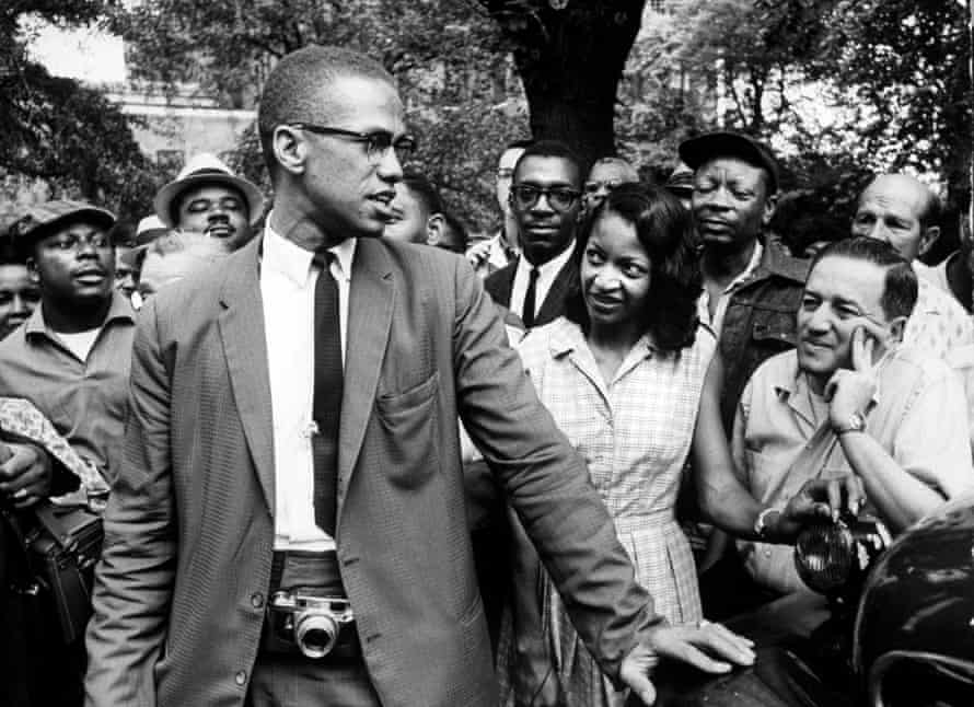Malcolm X at a civil rights demonstration in 1963.