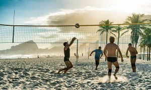 Men in Brazil playing volleyball