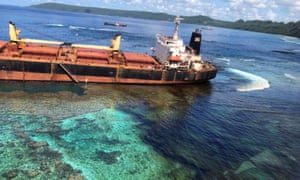Oil spills from the MV Solomon Trader along the coastline of Rennell Island in the Solomons.