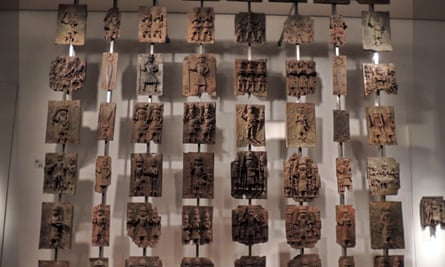 Some of the 900 bronze relief plaques known as the Benin bronzes.