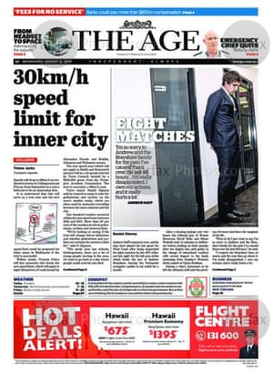 The front page of the Age