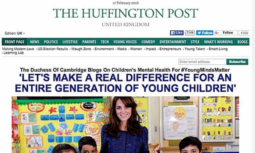 The Duchess of Cambridge's blogpost on the Huffington Post.