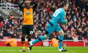Sone Aluko of Hull City reacts after missing a chance.