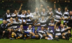 The Barbarians celebrate victory over the All Blacks at Twickenham in 2009.