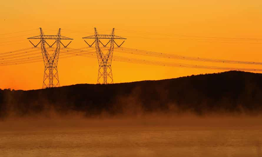 A view of power lines in early morning fog from the Hazelwood Power Station cooling pondage on March 21, 2012 in Melbourne, Australia.