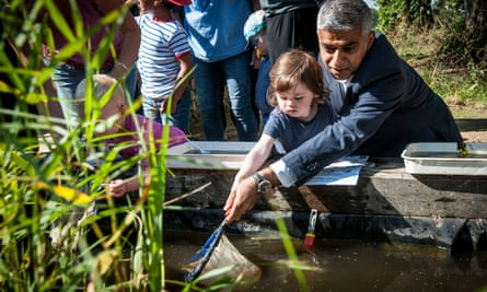 Sadiq Khan takes part in pond dipping at Woodberry Wetlands in Stoke Newington, London, as he unveils his draft Environment strategy