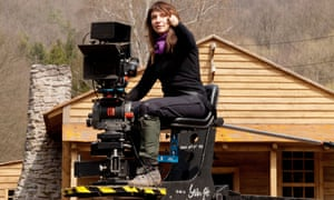 Director Susanne Bier on the set of her 2014 film Serena