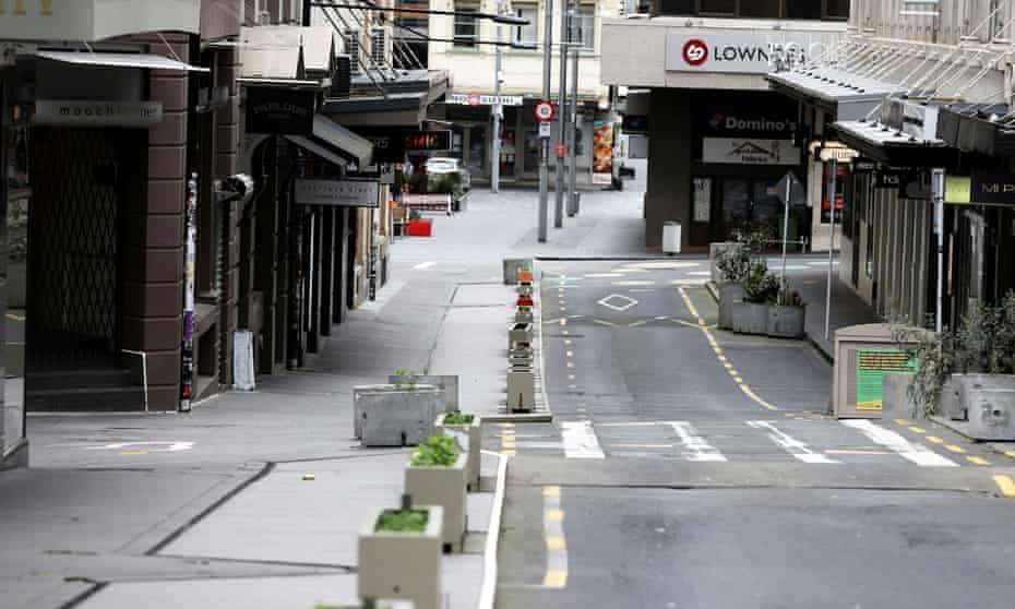 An empty Auckland street during lockdown