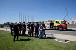 The United Firefighters Union of Australia holds a demonstration calling for a national approach to fire fighting as the climate crisis hits on the front lawns of Parliament House, Canberra, on Thursday