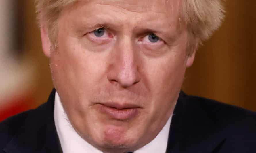 Boris Johnson speaks during a media briefing in Downing Street, London
