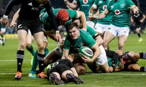Ireland's Jacob Stockdale scores his try early in the second half as his side won a famous home victory over the All Blacks.
